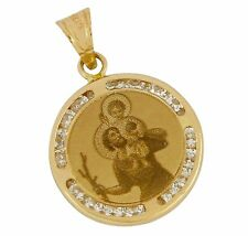 Dije Religioso de Bebe Jesus Decorado con Diamantes Simulados en Oro 14 Kilates