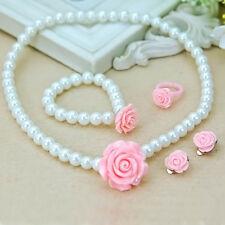 Kids Girls Child Pearl Flower Necklace/Bracelet/Ring/Ear Clips Jewelry Set Sweet