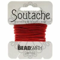 Beadsmith 3mm Soutache Poinsetta Red Cord 3 Yards