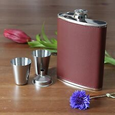 New Brown Leather Hip Flask Set Of 4 (1 Flask 2 cups  & 1 Funnel) Gift Pack