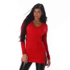 Sexy langarm Longpullover Pullover Pulli Long mit Schlitze Rot 34 36 38