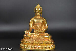"""6"""" Tibetan biography  Buddhism  Pure copper gilded with gold  Buddha statue"""