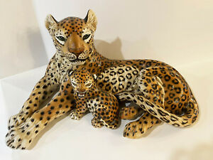 Giovanni Ronzan Large Ceramic Leopard with Cub, Signed RARE Mid Century Modern