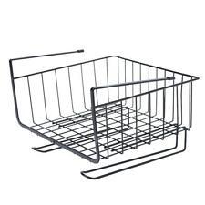 Hanging Closet Shelf Basket Cabinet Storage Racks Kitchen Organizer(Black) /ND