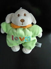 46/ DOUDOU CHIEN LOVE - CP INTERNATIONAL - VERT ORANGE AVEC GRELOT 19cms  TBE  !