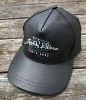 John Deere JD  Leather Black Dad Hat Cap Trucker Biker Strapback Vintage O