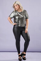 FOREVER 21 Plus Size Metallic Gunmetal Sequin Top 2X