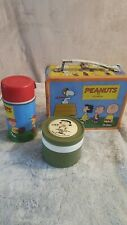 🐶VINTAGE Peanuts Snoopy SCHULZ METAL LUNCHBOX Charlie Brown Thermos Comic LUCY