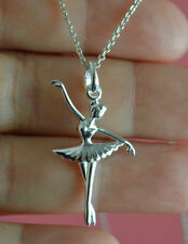 925 Sterling Silver Open Arms Girl Ballerina Ballet Dancer Charm Necklace