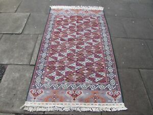 Vintage Traditional Hand Made Oriental Red Pink Grey Wool Somak Kilim 200x115
