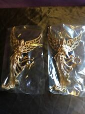 2 x Large Christmas Tree Hanging Gold Angels 19cm Tall Decorations. Festive -381