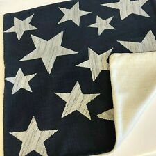 "Pottery Barn Stars Embroidered 20"" Decorative Pillow Cover~Blue/White~Americana"