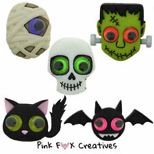 JEEPERS PEEPERS DRESS IT UP NOVELTY CRAFT BUTTONS CAT BAT FRANK MUMMY HALLOWEEN