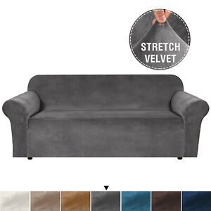 Velvet Plush Sofa Cover Stretch Couch Cover Furniture Protector for 1/2/3 Seater