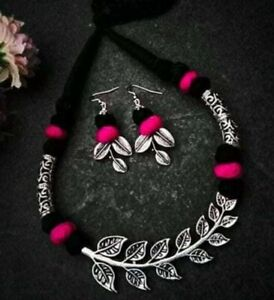 Handmade Oxidised leaf Metal Antique Tribal Necklace with earrings