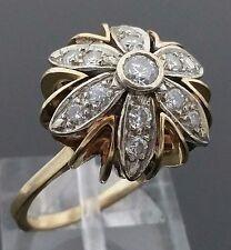Art Deco Era 14 Karat Yellow & White Gold .51 Carat Diamond Flower Dome Ring.
