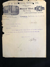 1901 USED LETTERHEAD U.S. MINERAL WOOL CO NEW YORK CITY, NY ILLUS FOYER LT53