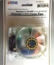 80MM PC CASE RED GREEN BLUE LED LIGHT UP COOLING FAN, FIXINGS FOR PC MODDING ETC