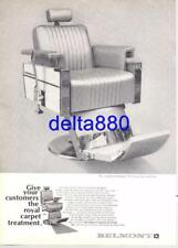 """1964 Barber Shop Full Page Print Ad 8.5"""" x 11"""" Belmont #919 Barber Chair NICE!"""