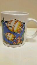 Multi Color Fish Swimming in Fish Tank Ocean White Coffee Mug Seaweed B14