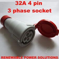 32A Amp 415V en Línea Acoplador de 4 pines hembra rojo 3 fase 450v máquina etc. Workshop