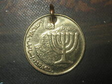 ISRAELI ISRAEL MENORA MENORAH COIN GOLD TONE GIFT PENDANT CHARM NECKLACE
