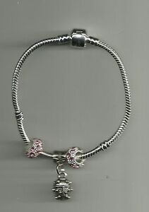 Silver Plated Bracelet with Ladybug Charm & Crystal Beads