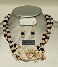 Tropical Conk Shell, Coral Shell, and Heishe Beads Necklace & Earring Set