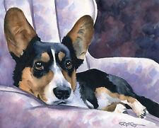 Cardigan Welsh Corgi Watercolor 8 x 10 Dog Art Print by Artist Djr