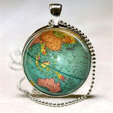 WORLD GLOBE CABOCHON PENDANT NECKLACE ATLAS MAP TRAVEL VINTAGE
