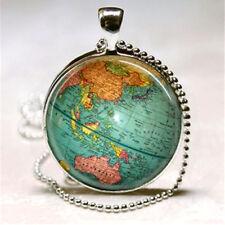 WORLD Globe CABOCHON PENDENTE COLLANA ATLANTE MAPPA VIAGGIO VINTAGE