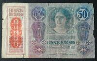AUSTRIA HUNGARY 50 Kronen Banknote 1914