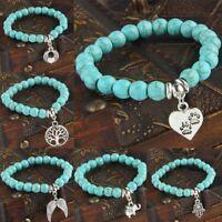 Beads Chain Bracelet Charms Stone Turquoise Bangle Heart Tree Dog Paws Jewelry