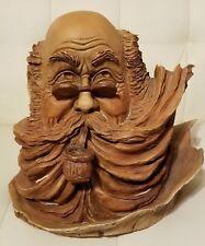 "Stephen Herrero Sculpture ""Burl"" Head Pipe Smoking Man Artist Signed Numbered"