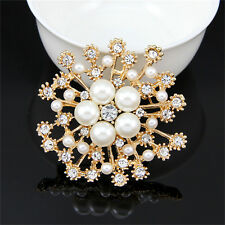 Top Pearl Rhinestone Crystal Vintage Flower Brooch Pin Brooches For Women