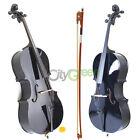 School Student Cello 4/4 Full Size Black Basswood +Bag+Bow+Rosin+Bridge