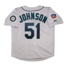 Randy Johnson de Seattle Mariners 1997 gris de carretera para hombre Jersey con Jackie 50th Parche