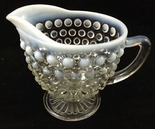 Vtg Hobnail Moonstone Clear Creamer Footed Pitcher Depression Glass A Hocking