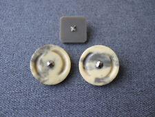 3 Antique great design art deco flapper cut steel galalith buttons