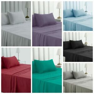 Super Soft Microfiber Fitted Flat Pillowcases Bed Sheet Set From Only $24.95