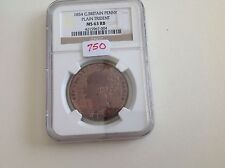 1854 Great Britain Penny Plain Trident NGC MS 63 Red Brown