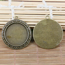 3PCS antiqued bronze 30mm round photo frame cabochon settings EF2124