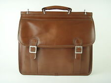 McKlein Brown 100% Leather Briefcase Laptop Case Bag with Shoulder Strap - EUC!