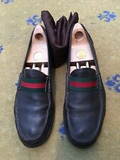 Gucci Mens Shoes Brown Leather Loafers UK 9.5 US 10.5 EU 43.5 Green Red Web