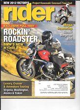 Rider motorcycle magazine. Oct 2011. BMW R 1200 R, Suzuki Burgman 650, Touring.