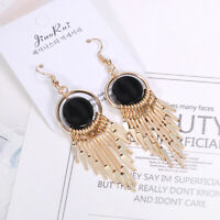 Black Agate Geometric Sector Long Tassel Dangle Hook Earrings For Women Jewelry