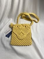 Tommy Bahama Macrame Crossbody Bag YELLOW Purse NEW WITH TAGS