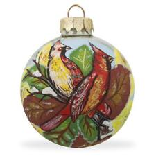 Two Cardinal Birds Glass Ball Christmas Ornament 3.25 Inches