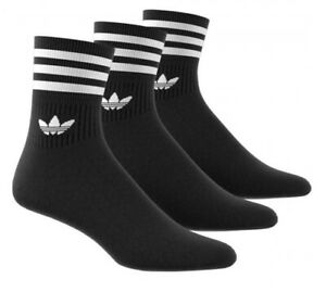 3 PACK - Adidas Originals Sports Socks - Black - Mens Womens Unisex, 3 pairs