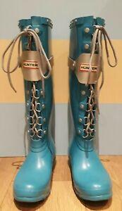 "Hunter Light Blue 4"" Heel Lace Up Rubber Wellington Festival Boots UK5"